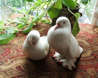 Beautiful Plump & Poised Pair Of White Turtle Ceramic Doves, LARGE IN SIZE, Signed Made in Portugal, Circa 1950's, Large In Size