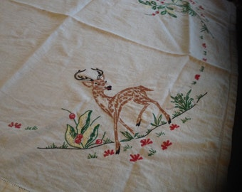 Vintage Embroidered Deer Table Cloth
