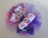 Over The Top Hair Bow, Conversation Heart Ribbon, Boutique Hair Bow with Tulle. Purple Toddler Hair Bow, Valentine Hair Bow,Bow with Bling