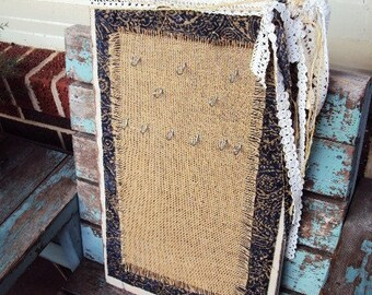 Shabby Chic Jewelry Display Antique Wood Board Vintage Tapestry Crocheted Lace and Burlap Distressed Wood