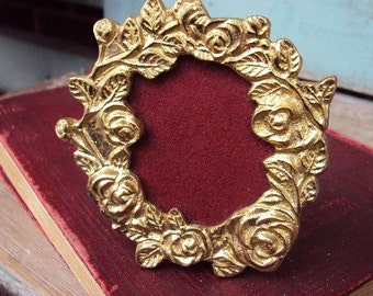 Vintage Brass Frame Miniature Baroque Photo Frame Lacquered Metal