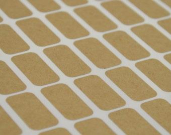 Small Rectangle Brown Kraft Labels - 1/2 x 1 Inch Sheet Labels for Laserjet or Inkjet Printing - set of 360