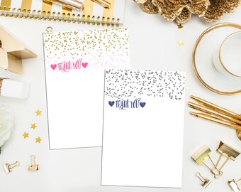 Gold Glitter Dots Thank You Cards with Bright Pink Envelopes. Flat A1 Pink & Gold Thank You Cards. Set of 10 Thank You Cards. SALE Glitter
