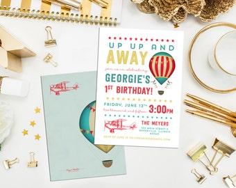 Vintage Transportation Birthday Invite & Baby Shower. Vintage Transportation. Hot Air Balloon Invite. Vintage plane. Retro Airplane invite.