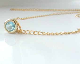 Aquamarine Simple Gold Necklace / 16k Gold Solitaire Something Blue / Everyday Simple Jewelry / Layering Minimal Necklace / Bridal Gift