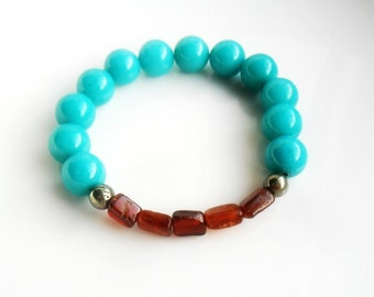 Turquoise Bracelet / Stone Bracelet  Stacks / Hessonite Pyrite Turquoise Bracelet / Tribal Chic Elastic Beaded Bracelet stack gift for her