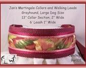Large Dog Size Martingale Collar and Leash Combination Walking Lead, Burgundy, Greyhound, Bur101