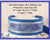 Jan's Martingales, Blue Walking Lead, Collar and Lead Combination, Greyhound, Large Dog Size, Blu119