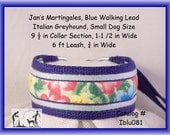 "Jan's Martingales, Blue Collar Leash Combination Walking Lead,  Italian Greyhound, Small Dog Size 9 1/2 "" Collar Section, Iblu081"