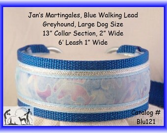 Jan's Martingales, Blue Walking Lead, Collar and Lead Combination, Greyhound, Large Dog Size, Blu121