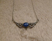 Cute delicate Girly Necklace  Stamped Silver Necklace blue lapis gemstone