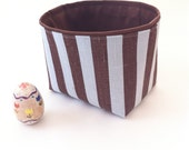 new size!  small fabric storage bin // brown and pale blue linen stripe