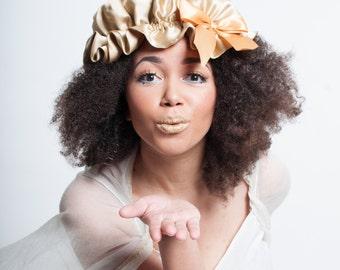 Gold Sleep Bonnet, Silk Charmeuse Sleeping Cap, Kinky Curly Hair, Biracial Hair Care, Natural Hair Products, Sleepwear, Gifts for Girlfriend