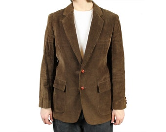 Vintage Corduroy Blazer 40R Mens Dark Brown Smoking Jacket Professor Coat Sz M Free US Shipping