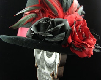 Heart Throb Top Hat, Day of the Dead/Halloween/Mardi Gras/Wedding/Cosplay Accessory