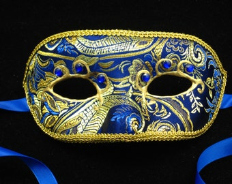 Signora Zaffiro Mask, Sapphire blue and gold Brodcade Covered Masquerade Mask with 3D Swirl and Rhinestones