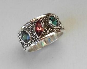Unique silver sterling three Tourmaline gems ring band / silver granulation technique  / Bali handmade jewelry / silver 925