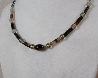 4864 Necklace, 20in, Botswana Agate, Smoky Quartz, Gunmetal  4864