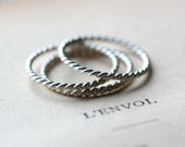 Stacking Ring Set Sterling Silver Ring Twisted Silver Stacking Rings - Set of Three - Thin Silver Band Modern Rings