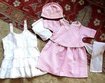 Infant Baby Doll VERY Vintage Cotton Dress Pink & White With White Cotton Slip