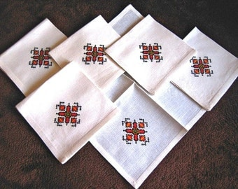 Vintage TABLECLOTH Replacement Napkins White Linen Hemstitched 6 Embroidered A++