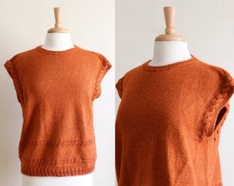 Vintage Rusty Orange Cap Sleeve 1970s Sweater