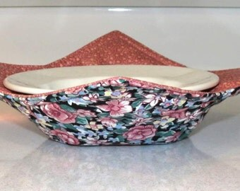 Reversible Bowl Cozy, Microwave Pot Holder, Pink and Blue Floral