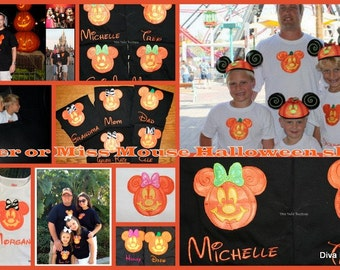 Mr or Miss Mouse  Jack o  Lanteren appliqued on a short sleeved tshirt children and adult sizes