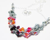 """Hunger Games Inspired Swarovski Crystal Necklace Beadweaving Sterling Silver -  """"Fire is Catching"""""""
