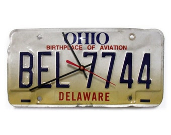 Recycled Ohio License Tag Clock - Delaware OH License Plate State Decor - Birthplace of Aviation  - 1996 1997 1998 1999 2000 2001 2002