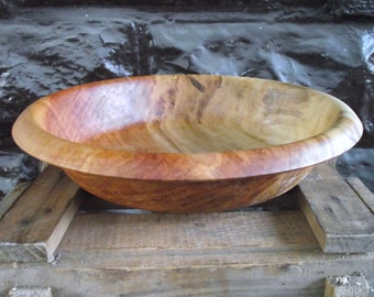 Wood Bowl - Reclaimed Maple Wood Wooden Bowl - Rustic Farmhouse Home Decor - Large Hand Turned Wood Bowl Perfect for Salad or Fruit
