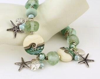 Lampwork Bracelet Sterling Silver  Ocean Beach Shell Starfish Sand DollarTurquoise Ivory  'Summer Beach'