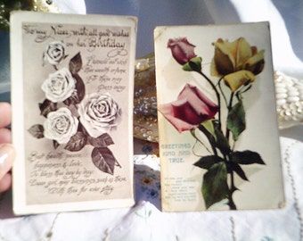 roses postcards, romantic postcards, vintage postcard, art assemblage, antique postcard, shabby roses