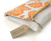 Fold Over Clutch Linen and Cotton Handbag Turquoise and Orange