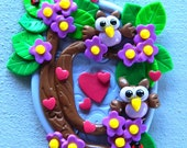 Small Owl Scene with Hearts and Flowers