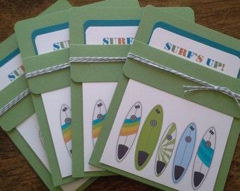 Surf birthday invitations, surfboard invitations, beach party invitations, pool party invitations - set of 8