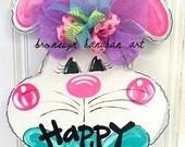 Chubby Cheek Bunny Door Hanger - Bronwyn Hanahan Art