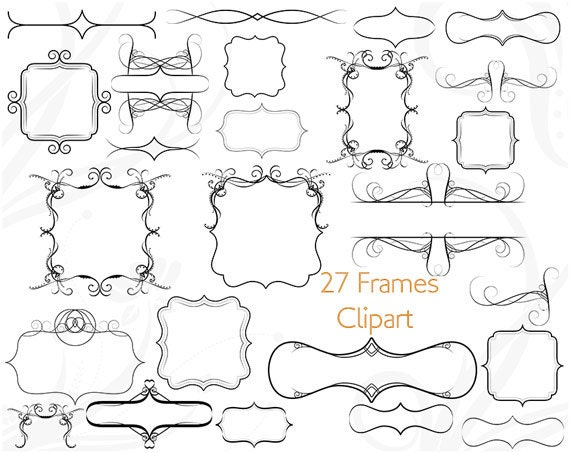 Frame Clip Art Clipart Label Square Flourish Border Scrapbooking Vintage Victorian Wedding Invitations Greeting Card Bracket