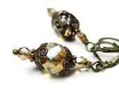Victorian Style Earrings, Vintaj Brass Neutral Amber Latte Czech Glass in Filigree Bead Caps, Antique Style Earrings, Sparkling EtsyGifts