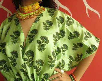 Green Floral Silk Short Kaftan Dress Best gift for her, dressing gown lounge wear, beach cover up, vintage fashion