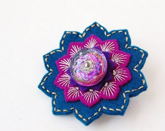 Navy and Magenta Embroidered Brooch