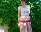 Vintage Pleated Lightweight Pink, White and Yellow Horizontal Stripe Midi Skirt with Side Zip