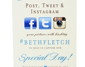Hashtag Social Media Sign - Share the Love Post Tweet & Instagram For Wedding Celebration Reception
