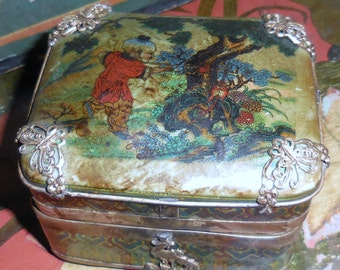 Ancient Tibet Porcelain  Covered  Box  Silver  and Porcelain  With  Adult  Erotica