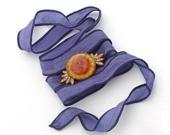 Silk Ribbon Bracelet or Choker with Vintage Bakelite Button Art Deco Brass Swarovski Crystals Gypsy Boho OOAK Denim Blue Red Rust Yellow