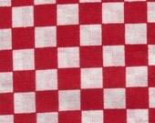 Red Checks Cotton Material - Japanese Tenugui 100% Cotton ( 87cm x 35cm ) 34 x 13 inches