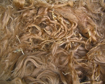 "Suri Alpaca Locks, 10"" Natural Light Brown Unwashed Locks,  Baby Fine Locks,  First Shearing, Long Locks, 2oz"