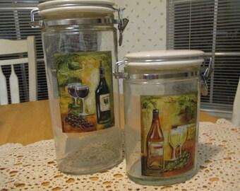 vintage apothecary jars  / 2 jars