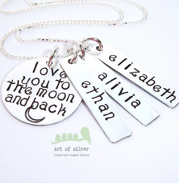 Charm necklace - Mother hand stamped necklace - Love you to the moon and back - Personalized discs -  Kids name necklace -3 silver name tags
