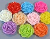 20pcs Rose Flowers...Resin...Cabochon...20mm...10 Colors...F2